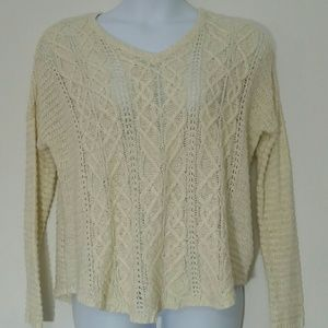 Sonoma L Ivory loose cable net sweater